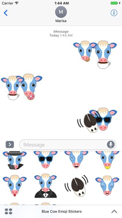 Sweet Blue Cow Emoji Stickers