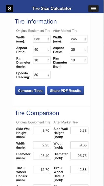 Gear Speed and Tire Size Calculator screenshot-3