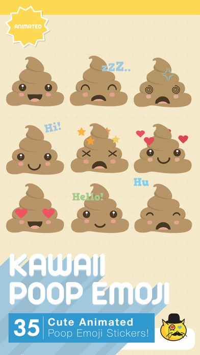 Kawaii Poop Emoji : Animated Cute Stickers
