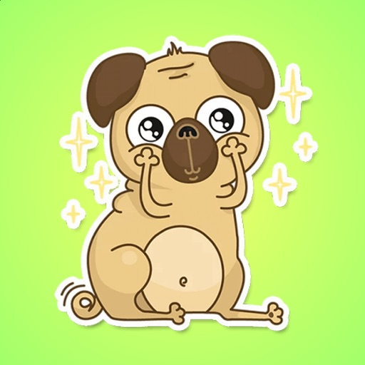 Happy Pug Stickers