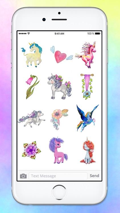 Watercolor Unicorn Sticker Pack screenshot-4