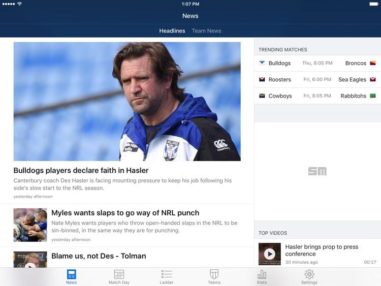 League Live for iPad: NRL news