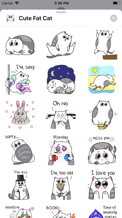 Cute Fat Cat Sticker Pack