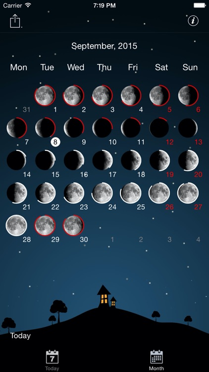 Sky and Moon phases calendar screenshot-3
