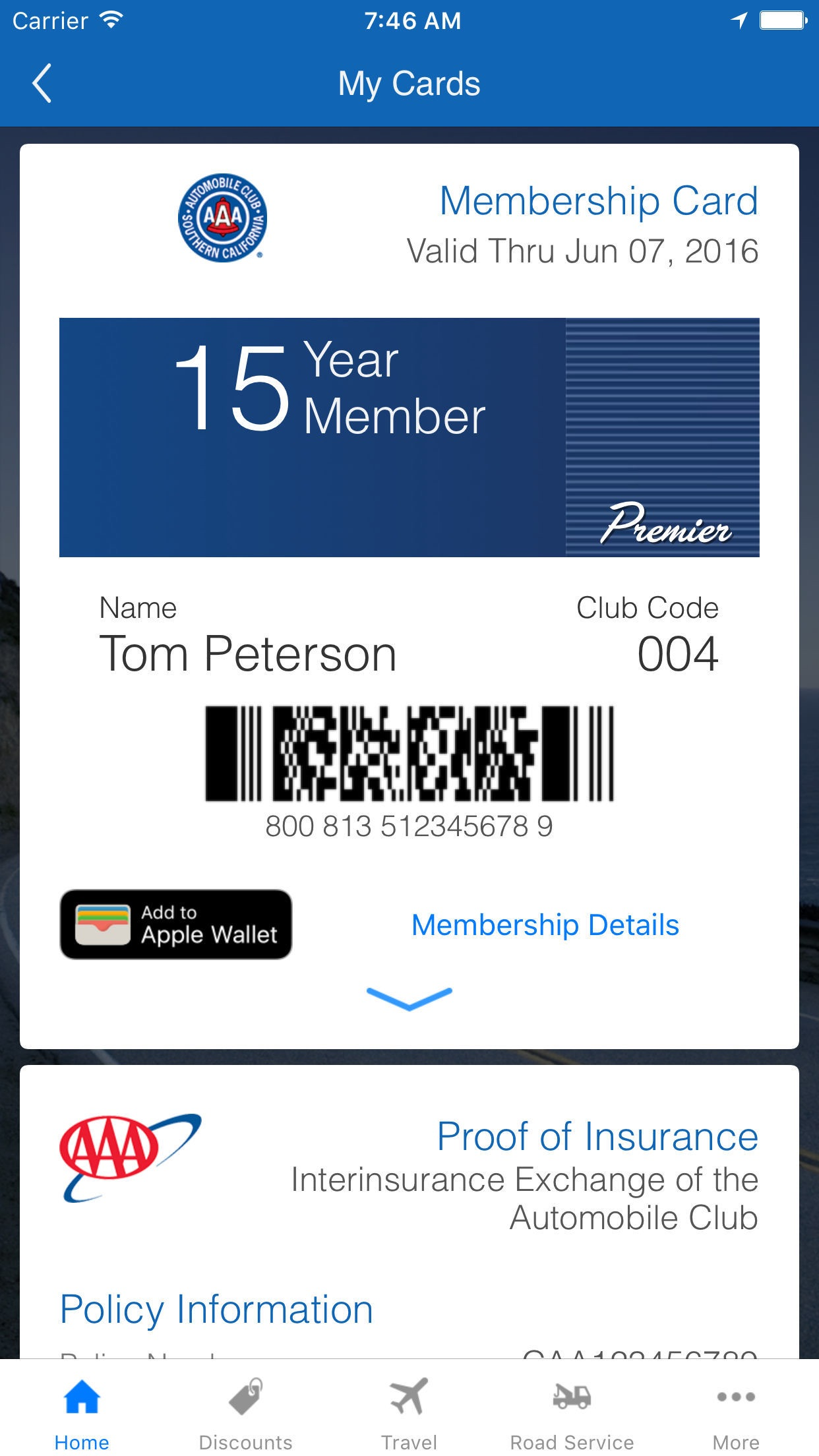 Auto Club App Screenshot