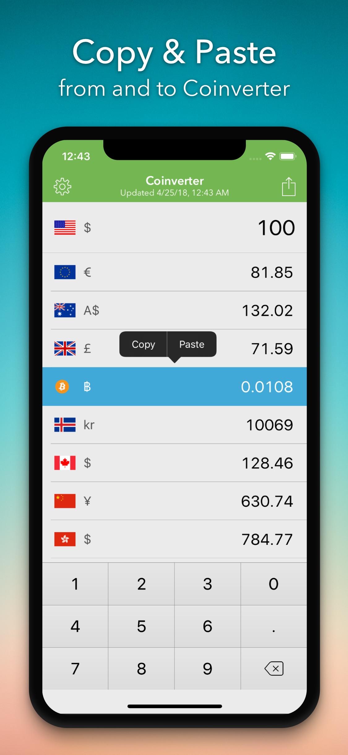 Screenshot do app Coinverter: Converso de Moedas
