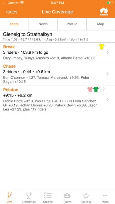 Santos Tour Down Under Tracker screenshot one