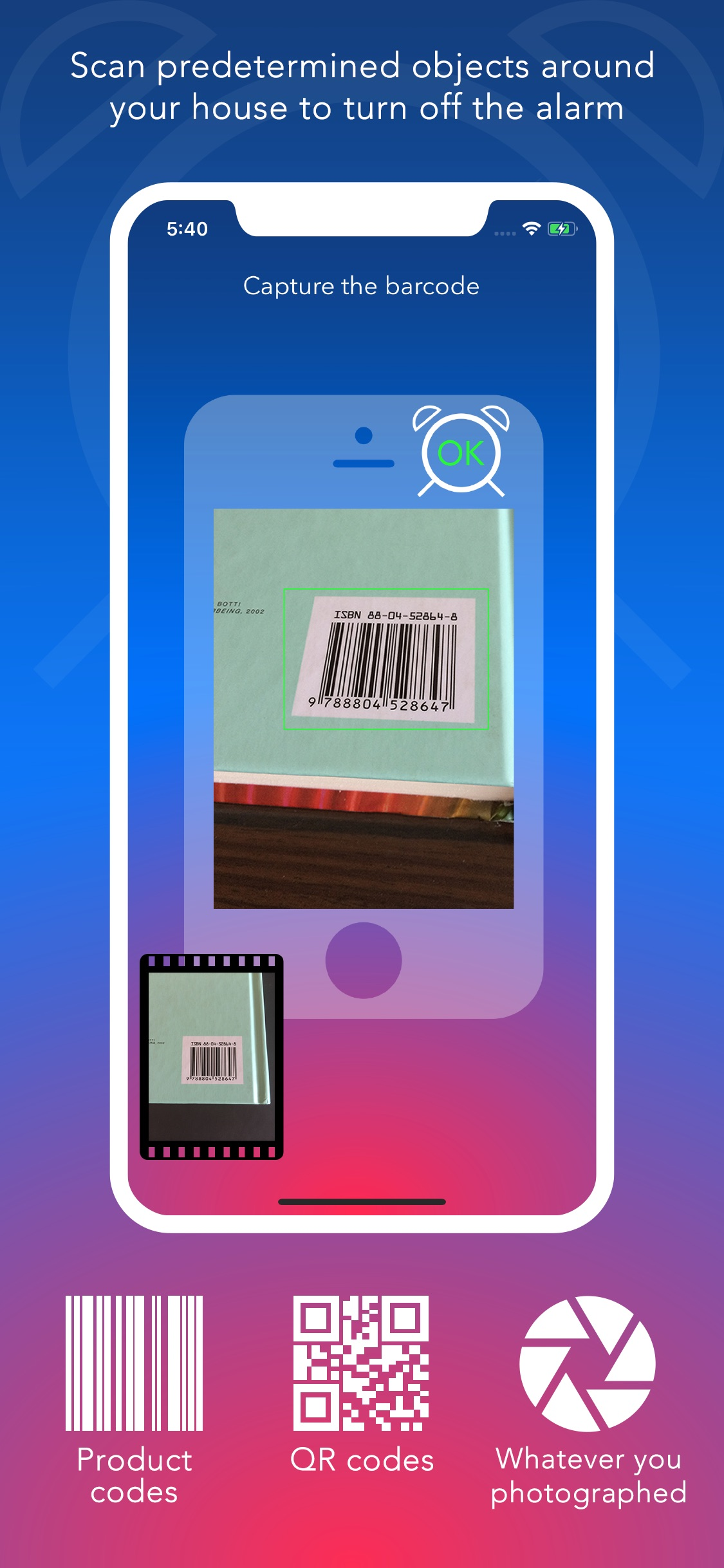 Screenshot do app FreakyAlarm — Games & Barcodes