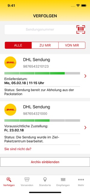 ‎DHL Paket Screenshot
