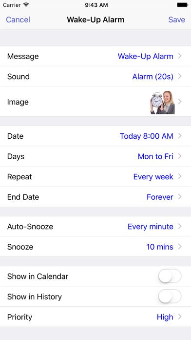 Aida Reminder Lite with Voice Reminders screenshot