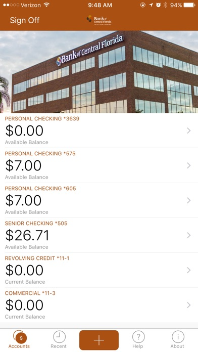 Bank of Central FL Personal Screenshot on iOS
