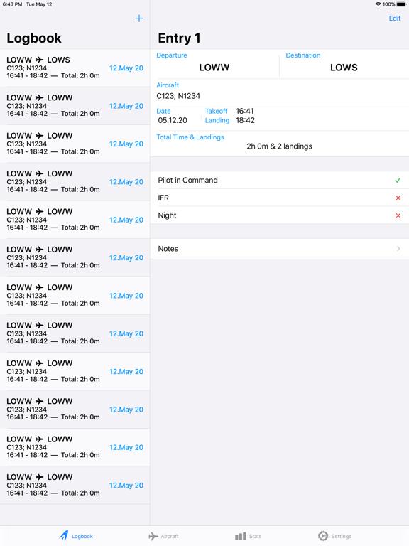 Screenshot #4 pour SkyPilot 3 - Flight Logbook