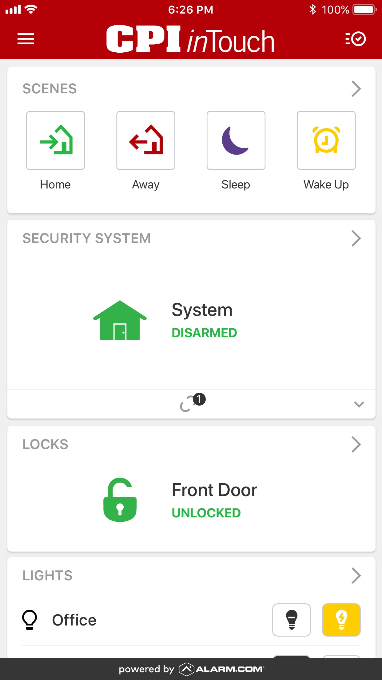 CPI Security inTouch Screenshot