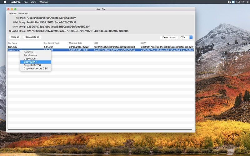 Hash File for Mac