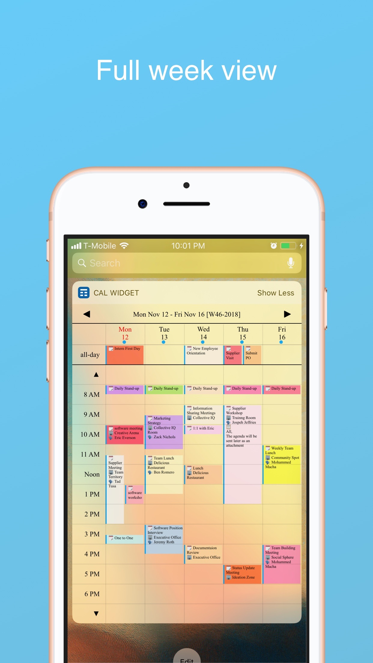 Screenshot do app Week Calendar Widget Pro