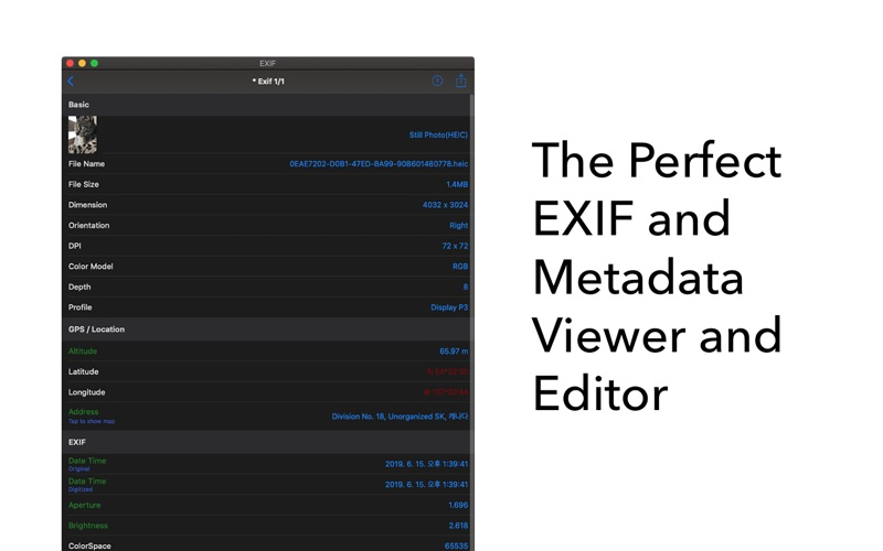 EXIF - 查看,修改EXIF和元数据 for Mac