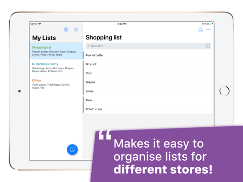 Grocery List with Sync - náhled