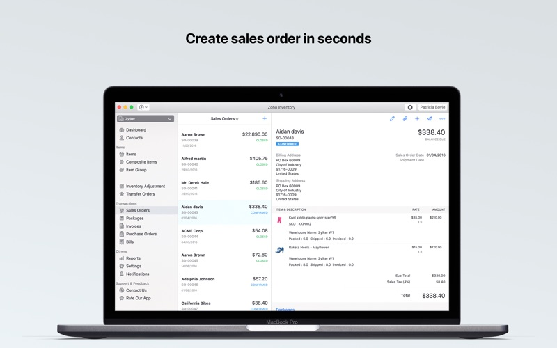 Zoho Inventory for Mac