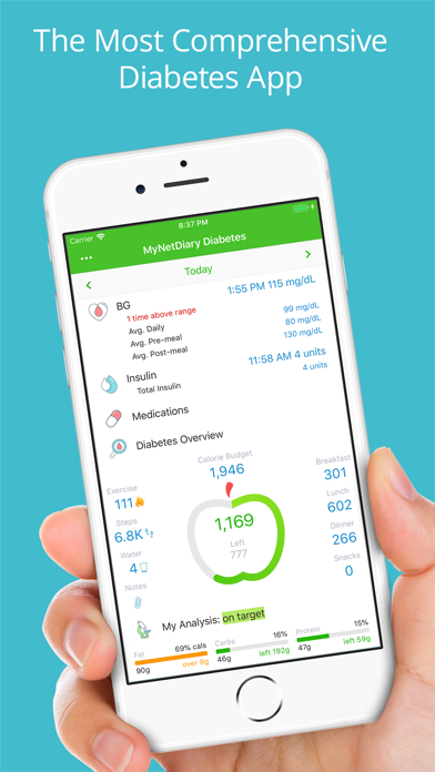 Screenshot #1 pour Diabetes Tracker by MyNetDiary