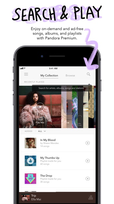 Pandora Music Screenshot on iOS