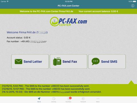 Screenshot of Fax.de Center