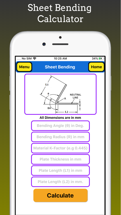 Sheet Bending Calculator Pro screenshot 1