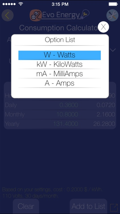 Evo Energy - Cost Calculator. screenshot-4
