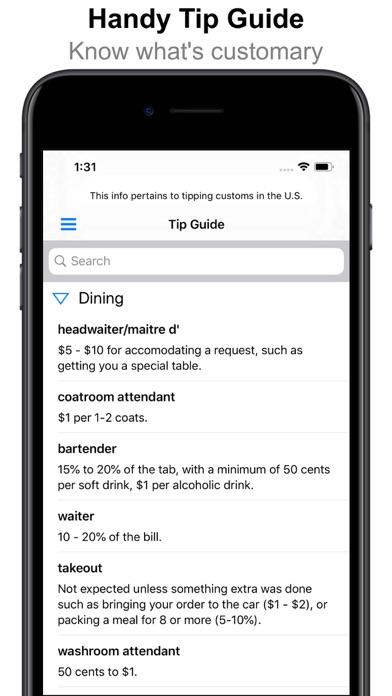 Tip Calculator Free - Tip Utility - Tip Guide, Check Splitter & Bill Tracker screenshot