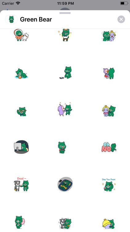 Green Bear Animated Stickers