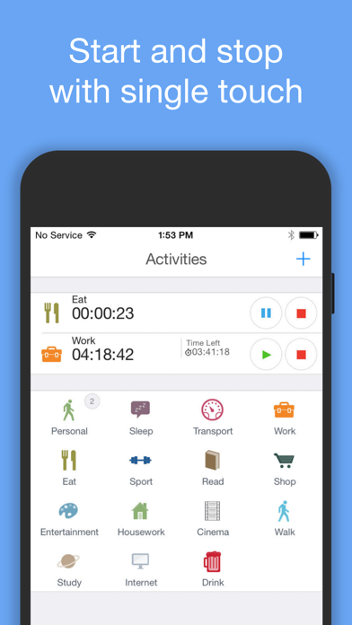 aTimeLogger Personal Tracker Screenshots
