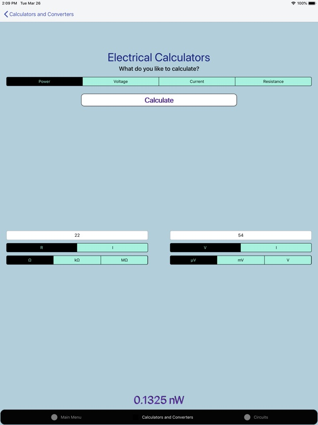Electronics Circuit Calculator Screenshot