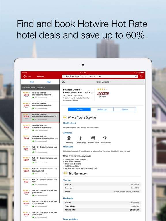 Hotwire Last Minute Hotels App Price Drops