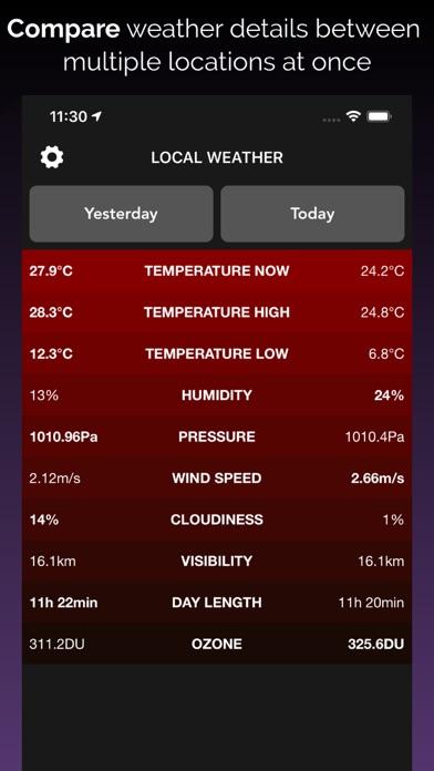 Weather Compare - List Stats Screenshot