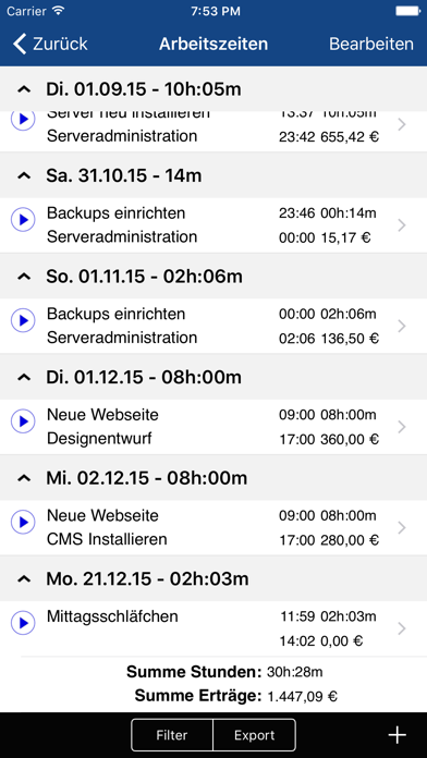 Screenshot for Qlaqs Timesheet Pro in Austria App Store