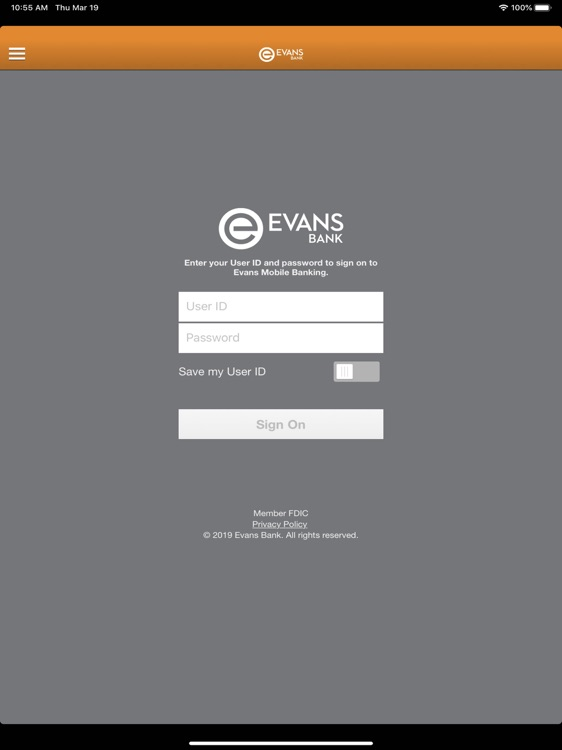 Evans Mobile Banking for iPad