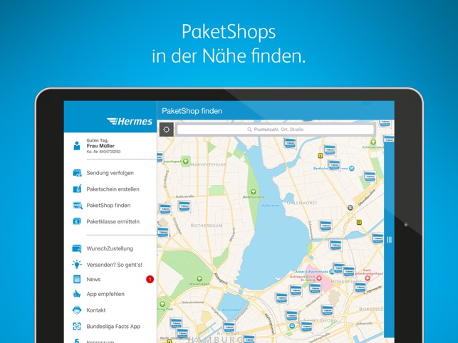 Hermes Paketversand Screenshot