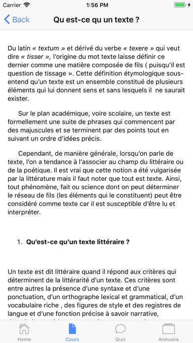 Cours de Littérature screenshot 2
