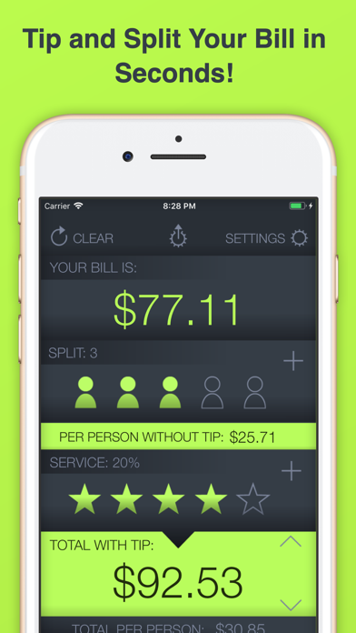 Tap Tip - Tip Calculator Free with simple dining bill split, food splitter and the best out to eat tipping app screenshot