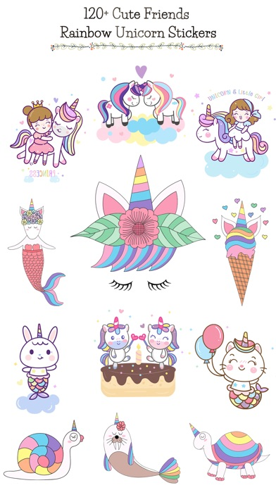 Cute Rainbow Unicorn & Friends screenshot 1