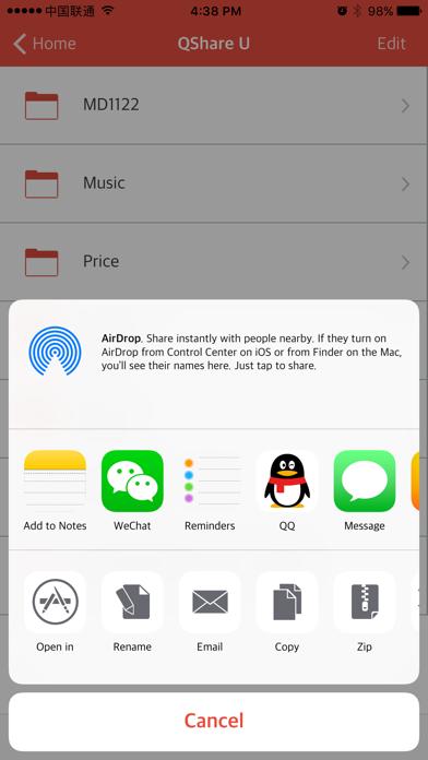 QShare U Screenshot on iOS