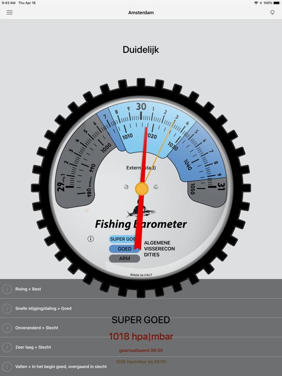 Vissen Barometer iPad app afbeelding 2