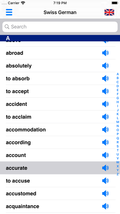 Swiss German Dictionary screenshot one