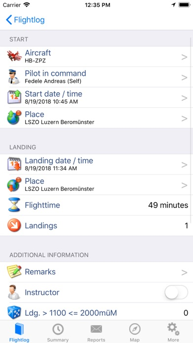 ROTAIR FlightLog screenshot two