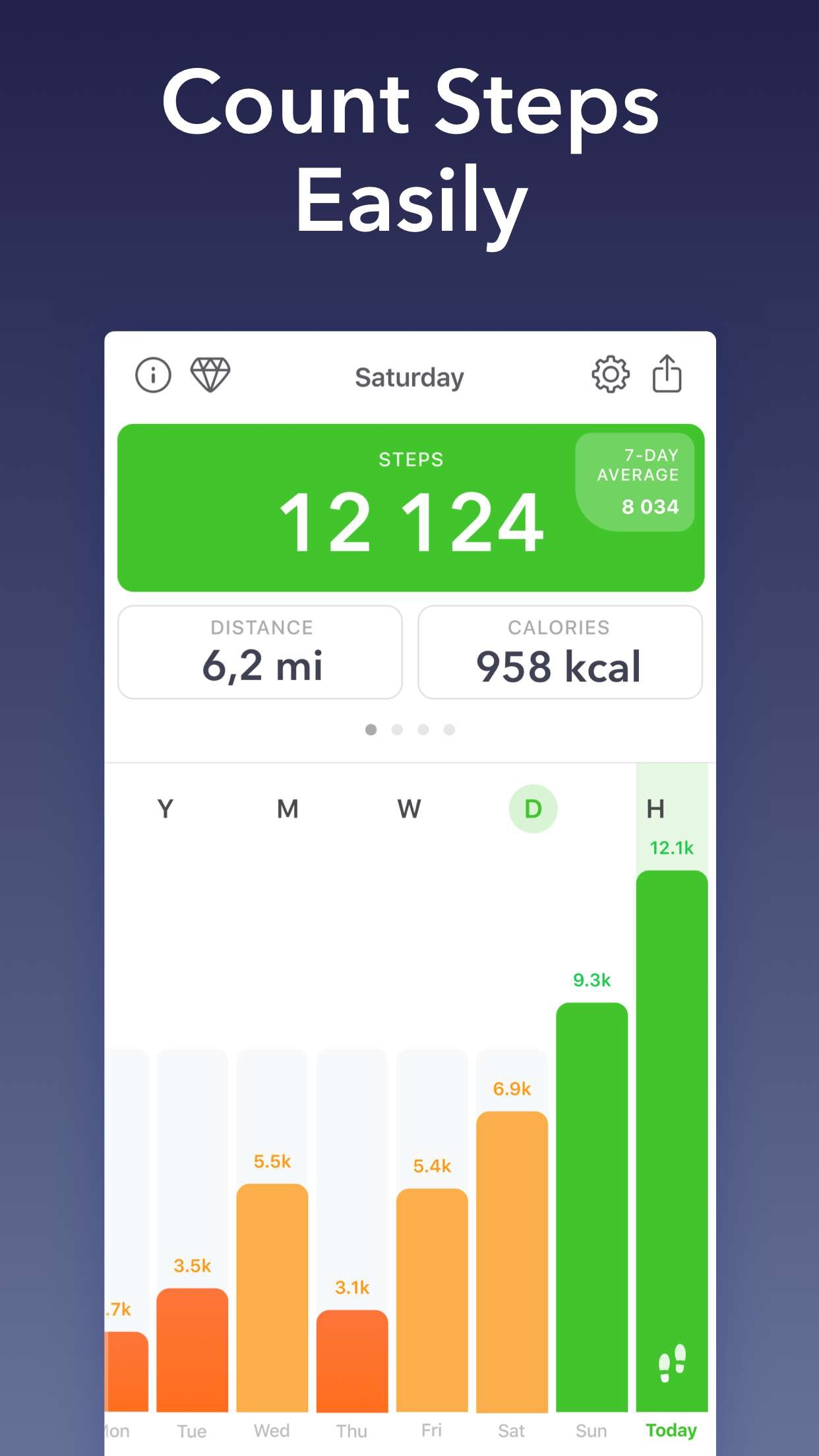Stepz - Pedometer & Tracker Screenshot