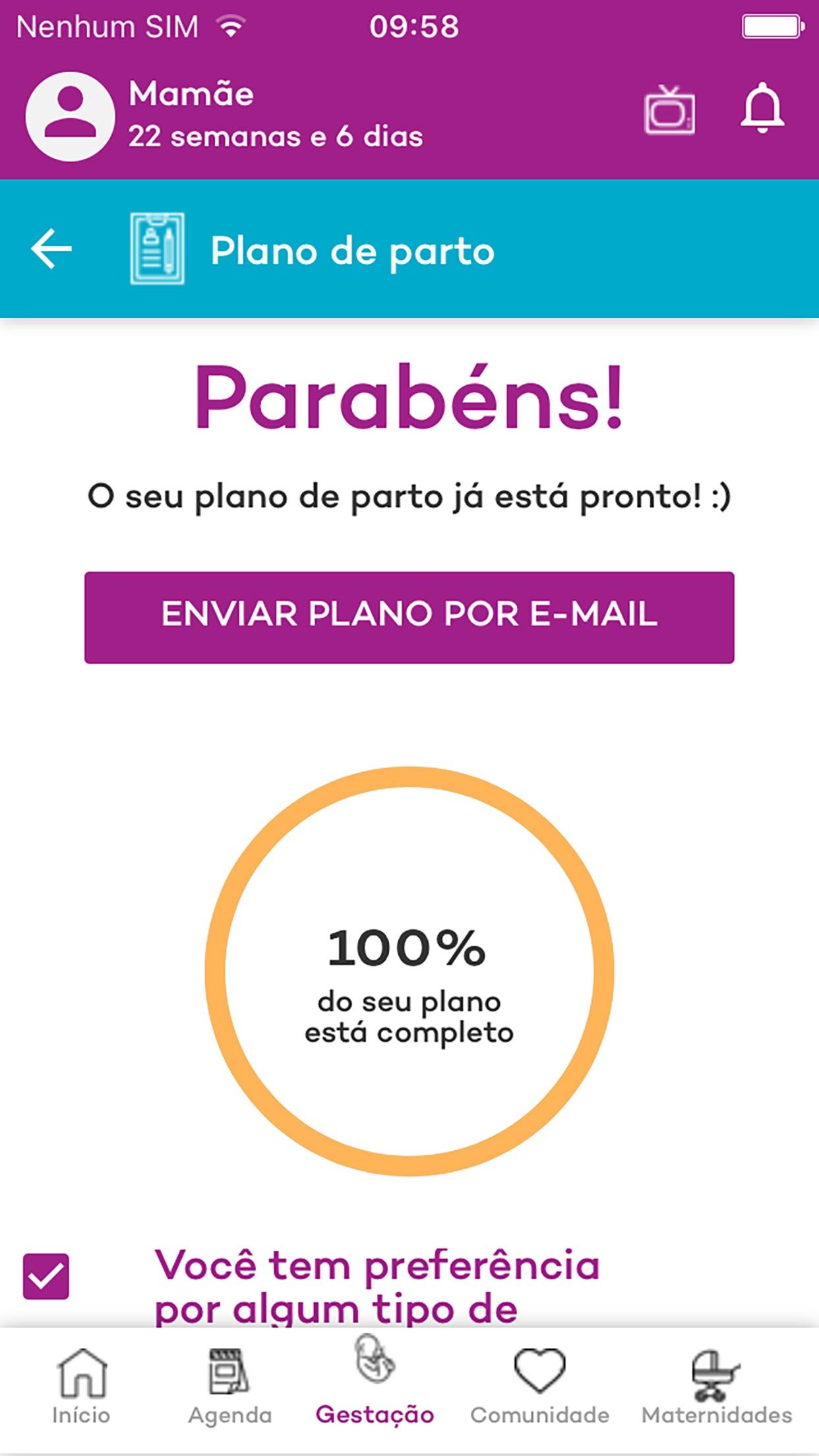 Screenshot do app Canguru Gravidez