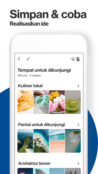 Screenshot for Pinterest in Indonesia App Store