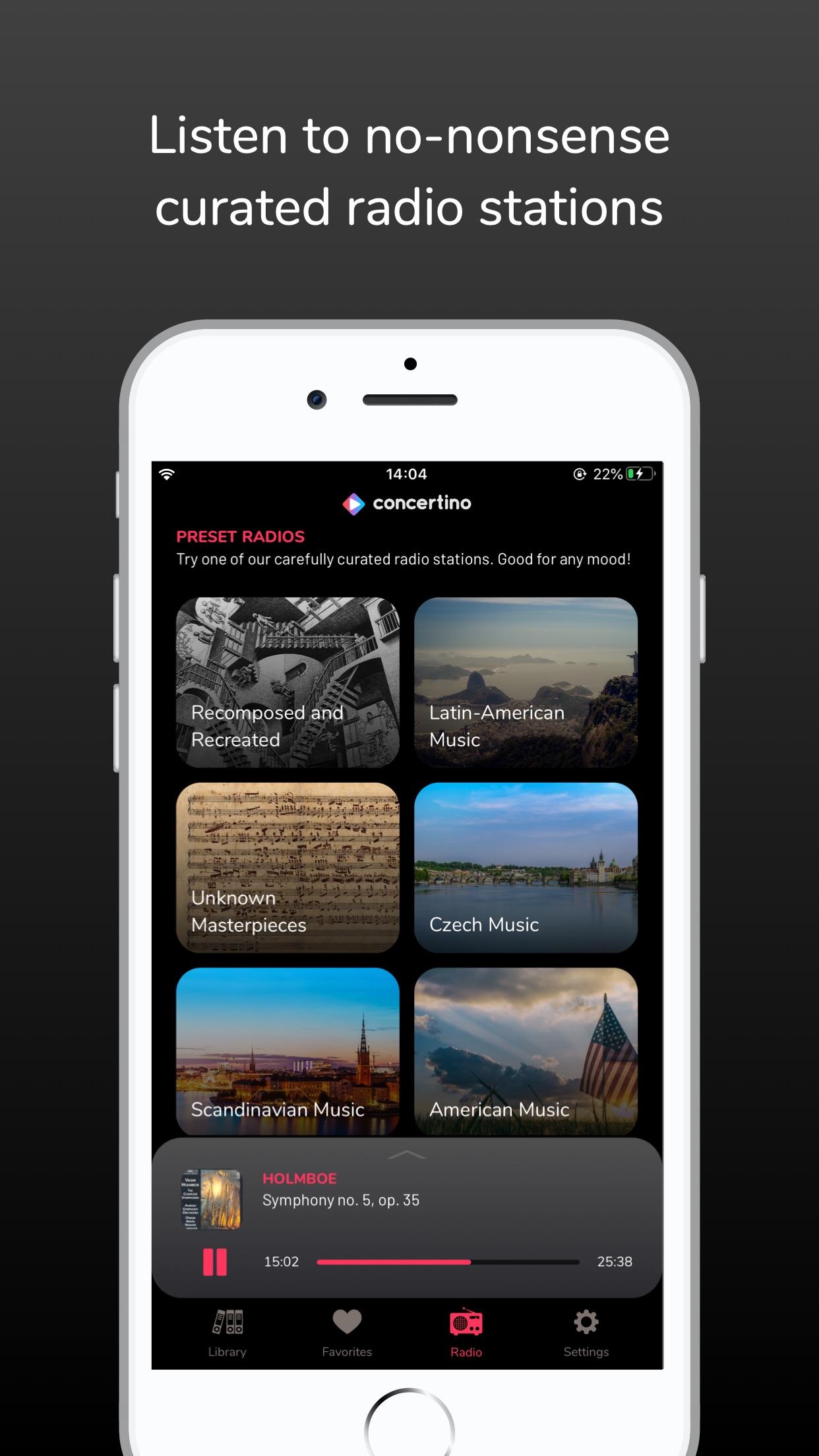 Screenshot do app Concertino