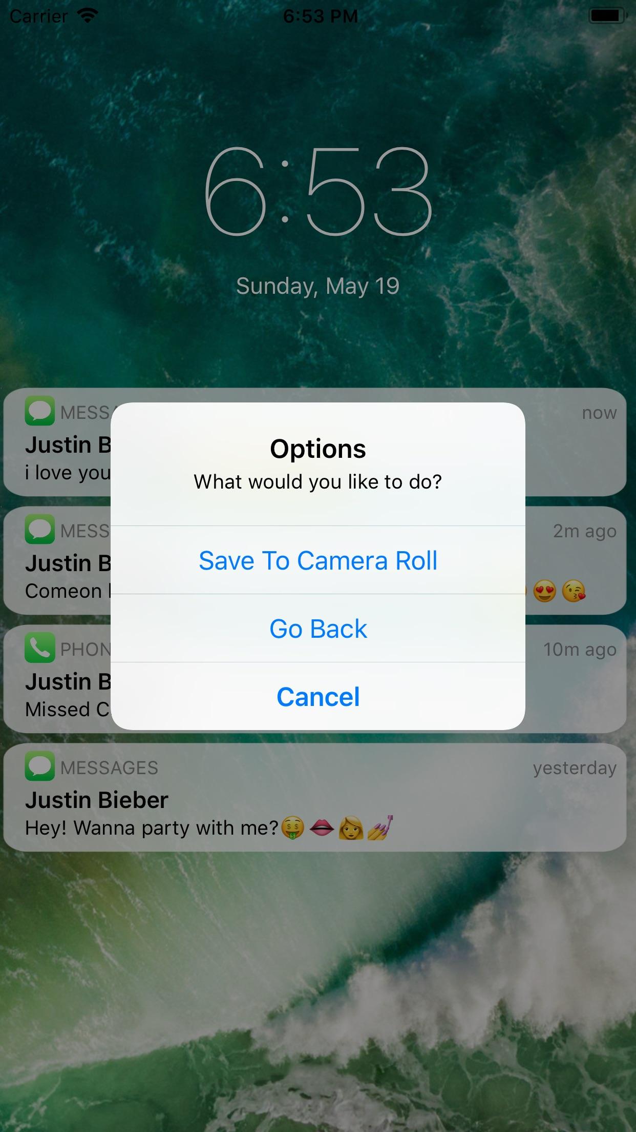 Fake Text Message - Screenshot