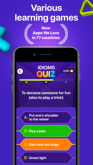 English idioms: learning game Screenshot
