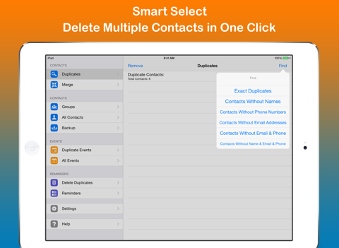 Screenshot of Remove Duplicate Contacts +